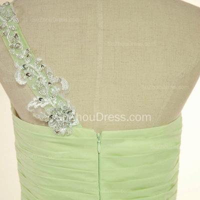 One Shoulder Lace Chiffon Long Prom Dress Popular Sweep Train Plus Size Dresses for Women_5