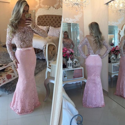 Pink Lace Prom Dresses Long Sleeve Open Back Pearls Evening Gowns BMT137_3