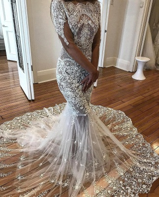Sexy Mermaid Long Sleeve Lace Wedding Dress Sexy | Flowers See Through Tulle Bride Dress_4