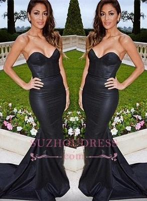 Black Mermaid Sweep-Train Sexy Sweetheart Evening Dress_1