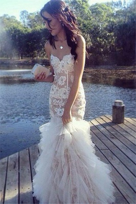 Ruffles Tulle Lace Prom Dresses Sweetheart Sheath Evening Dress_1