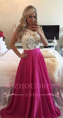 Charming Fuchsia Prom Dress Pearls Sleeveless A-line Lace Evening Gowns BMT205_3