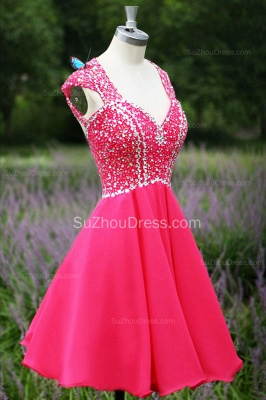 Short Beading Prom Gowns  V Neck Sequined Crystal Zipper Peachblow Chiffon Evening Dresses_3