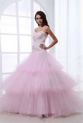 Pink Quinceanera Dresses  Sweetheart Sleeveless Appliques Tiered Ball Gown Floor Length Lace-up Gorgeous Prom Dress_6