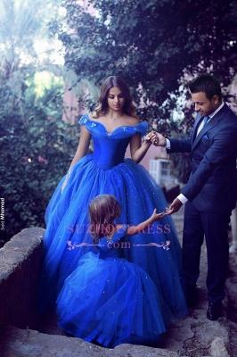 Floor Length Royal Blue Lovely Girls Pageant Dresses  Tulle Off-the-Shoulder Flower Girl Dresss BA3927_2