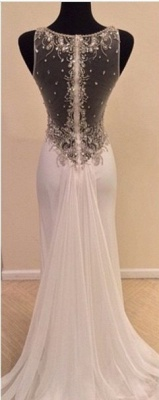 New Arrival Crystal Chiffon Prom Dress with Beadings Mermaid Sheer Back Evening Gown_3
