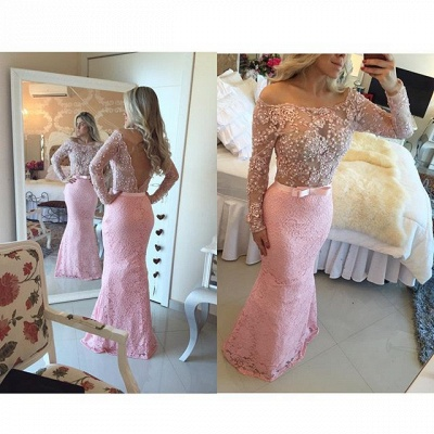 Pink Lace Prom Dresses Long Sleeve Open Back Pearls Evening Gowns BMT137_4