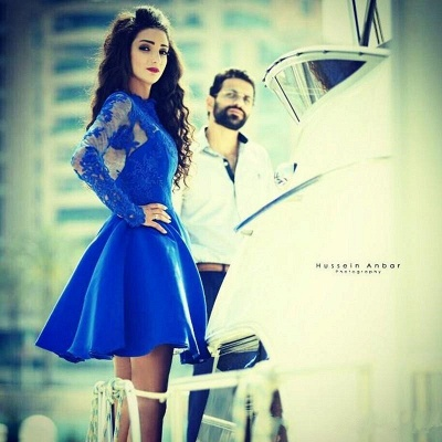 Cute Royal Blue Long Sleeve Homecoming Dress A-Line Lace Short Cocktail Dresses_5
