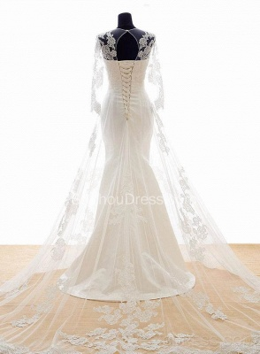 White Lace Long Sleeve Mermaid Bridal Gowns Sweep Train Lace-up Elegant Jewel Royal Princess Wedding Dresses BA3344_2