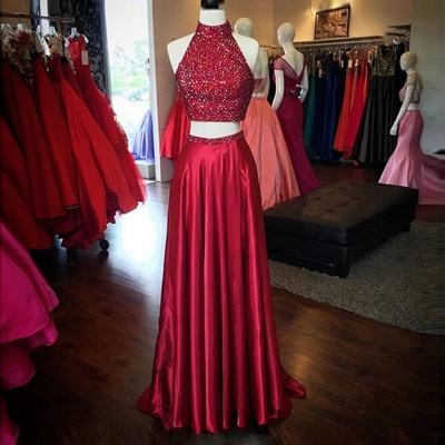 Red High Neck Two Piece Evening Dresses Online Sleeveless Split Prom Dress with Beads BA3198_3