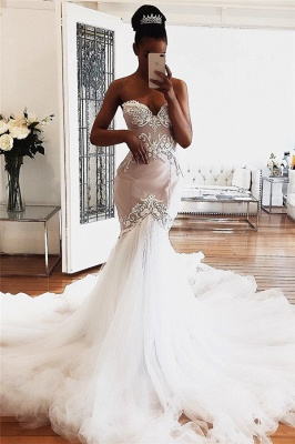 Gorgeous Sleeveless Mermaid Wedding Dresses Sweetheart Lace Bridal Gowns Online_1
