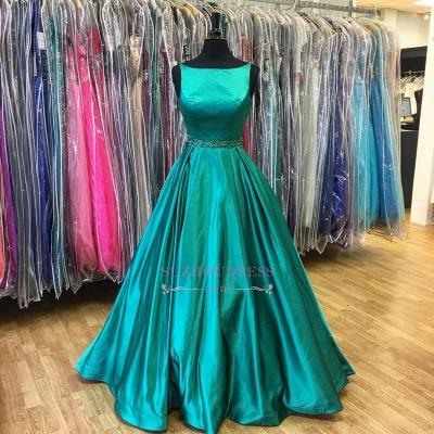 A-Line Beadings Green Sleeveless  Stunning Prom Dress_1