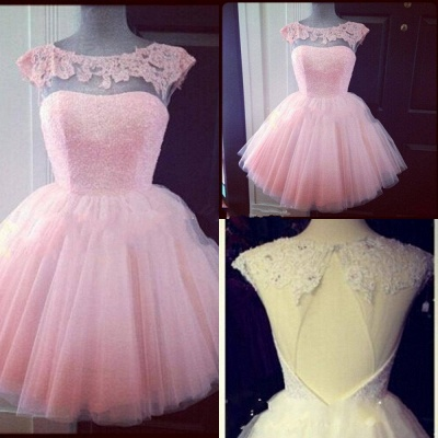 Cute Pink Lace Mini Homecoming Dress Simple Tulle Short Party Dresses with Puffy Skirt_2