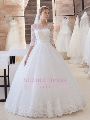 Princess Lace-Up  Bride Dress  Stunning Floor-Length Lace Half-Sleeve Wedding Dress_3