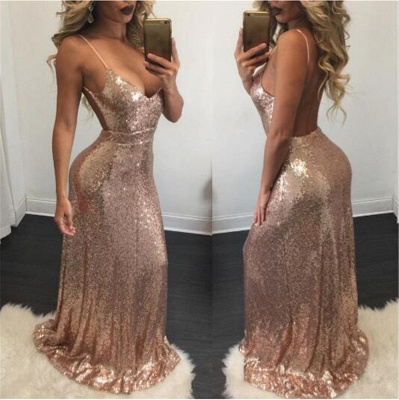 Champagne Sequins Backless Evening Gowns Sexy  Straps Shiny Formal Dresses BA6742_3