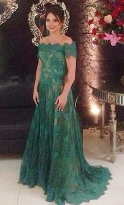 Green Lace Off Shoulder Elegant Long Evening Dress  Popular Formal Occasion Dresses_2