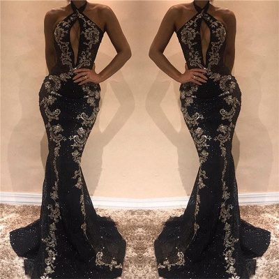 Halter Sleeveless Sexy Evening Dresses  | Black Shiny Keyhole Prom Dress with Lace Appliques_3