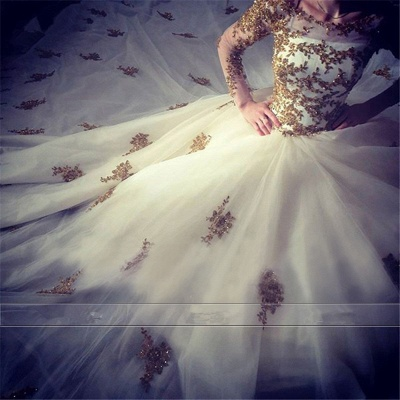 Luxury Wedding Dress  Scoop Long Sleeve Gold Lace Beading Ball Gown Bridal Dress with Long Train BA7676_7