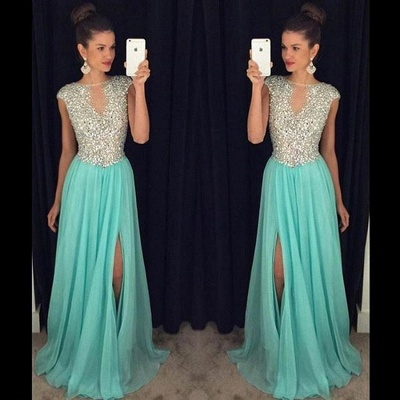 Short Sleeve A-Line Crystal Prom Dresses New Arrival Floor Length Evening Gowns GA052_3