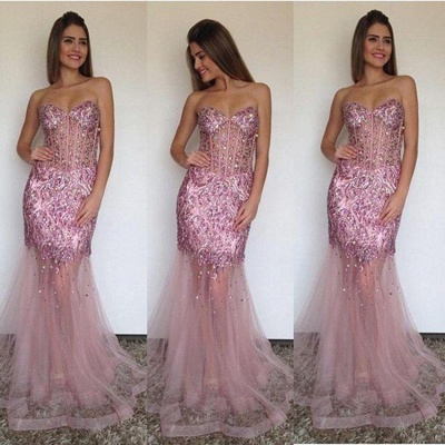 Sexy Mermaid Tulle Sweetheart Prom Dress Sparkly Beading Long  Evening Gown_3