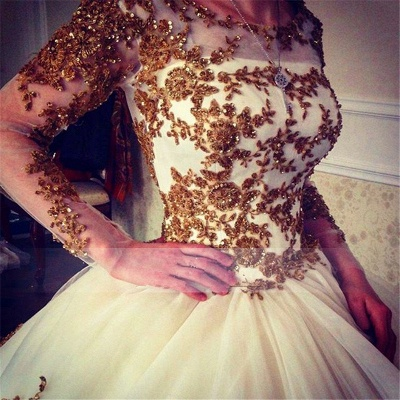 Luxury Wedding Dress  Scoop Long Sleeve Gold Lace Beading Ball Gown Bridal Dress with Long Train BA7676_6