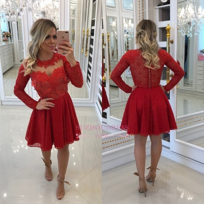 Short Long-Sleeve Homecoming Dresses | Red Lace Party Dresses WW0010_1