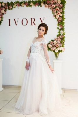 A-Line Long Sleeve Lace Applique Bridal Gowns Elegant Tulle Long Wedding Dresses BA5209_1
