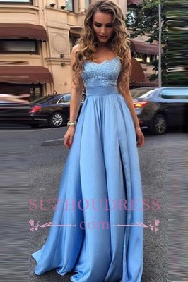 Sleeveless Glamorous Formal Dress  A-Line  Lace Strapless Prom Dresses_1