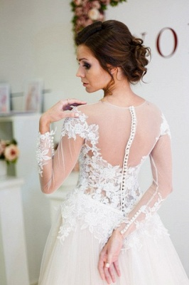 A-Line Long Sleeve Lace Applique Bridal Gowns Elegant Tulle Long Wedding Dresses BA5209_4