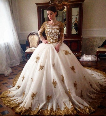 Luxury Wedding Dress  Scoop Long Sleeve Gold Lace Beading Ball Gown Bridal Dress with Long Train BA7676_1