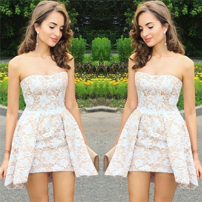 Sexy Strapless Mini Homecoming Dresses   | Sleeveless Lace Short Hoco Dresses_3
