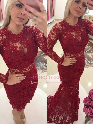 Luxury Jewel Mermaid Evening Dresses  | Lace Long Sleeves Formal Dresses with Beadings_3