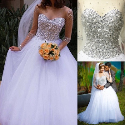 Sheer Sweetheart Crystal Ball Gown Wedding Dresses Lace-up Long Sleeve Tulle Beautiful Wedding Princess Dress MH001_7