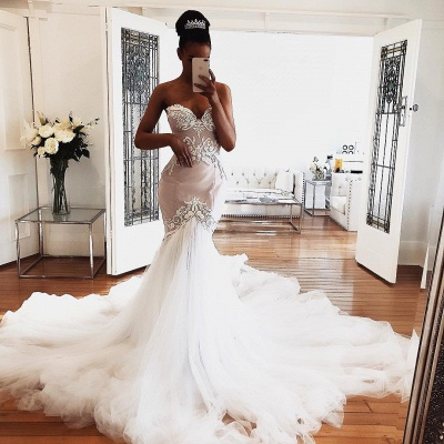 Gorgeous Sleeveless Mermaid Wedding Dresses Sweetheart Lace Bridal Gowns Online_3