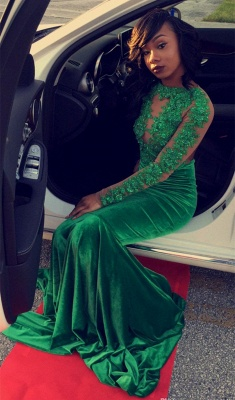 Long Sleeve Velvet Green Evening Gown Sexy Court Train Prom Party Dress DN011_3