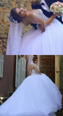 Sheer Sweetheart Crystal Ball Gown Wedding Dresses Lace-up Long Sleeve Tulle Beautiful Wedding Princess Dress MH001_4