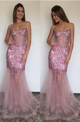 Sexy Mermaid Tulle Sweetheart Prom Dress Sparkly Beading Long  Evening Gown_1