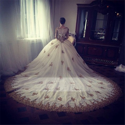 Luxury Wedding Dress  Scoop Long Sleeve Gold Lace Beading Ball Gown Bridal Dress with Long Train BA7676_5