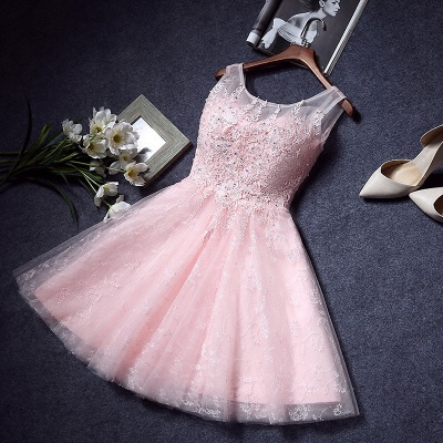 Pink Lace Appliques Sleeveless Homecoming Dresses  Short A-line Party Dresses with Beadings_3