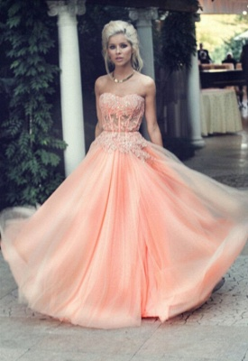 Applique Chiffon Sweetheart Evening Dresses Floor Length Tiered Strapless Prom Gowns_5