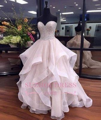 Beadings Sweetheart Sexy Prom Dresses Elegant Ruffles Floor Length Tulle  Evening Dresses BA5406_3