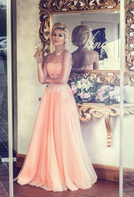 Applique Chiffon Sweetheart Evening Dresses Floor Length Tiered Strapless Prom Gowns_2