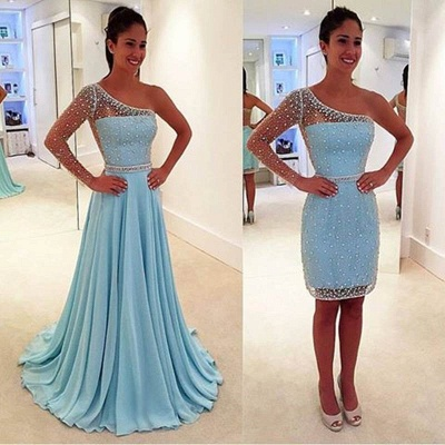 One Sleeve Beads Sequins Short Evening Dress with Detachable Skirt Sexy Prom Dresses_3