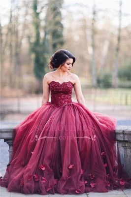 Burgundy Puffy Tulle 3D-Floral Evening Gowns Sweetheart Appliques Ball Gown Wedding Dress_1