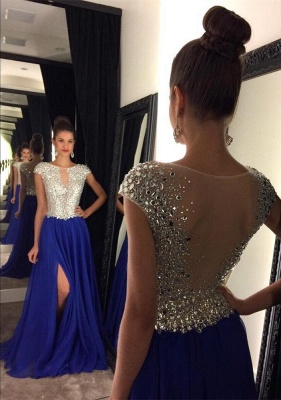 Short Sleeve A-Line Crystal Prom Dresses New Arrival Floor Length Evening Gowns GA052_1