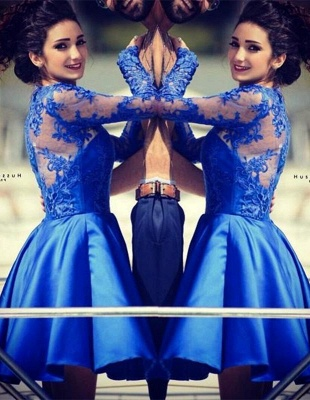 Cute Royal Blue Long Sleeve Homecoming Dress A-Line Lace Short Cocktail Dresses_1
