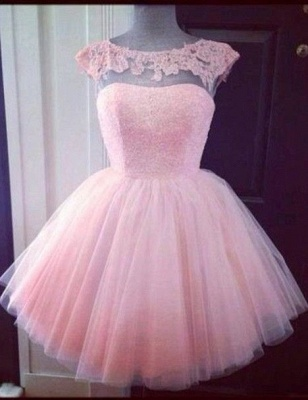 Cute Pink Lace Mini Homecoming Dress Simple Tulle Short Party Dresses with Puffy Skirt_1