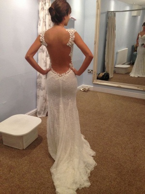Sexy Mermaid Lace  Bridal Dress Open Back Sweep Train Wedding Dresses_1