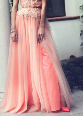 Applique Chiffon Sweetheart Evening Dresses Floor Length Tiered Strapless Prom Gowns_6