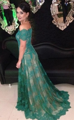 Green Lace Off Shoulder Elegant Long Evening Dress  Popular Formal Occasion Dresses_1